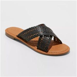 Willow Black Laser Cut Crossband Slide Sandals